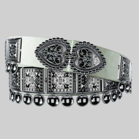 Sølvbelte Damask-Kjol Hvit